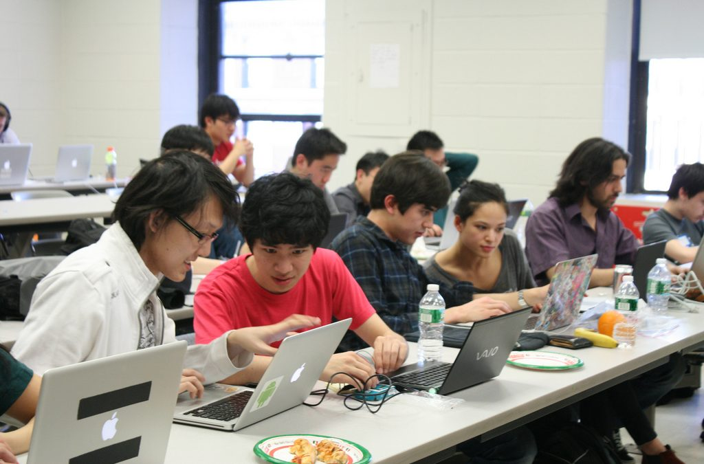 college students using laptops