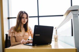 Female teen at laptop
