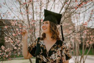 teen girl with graduation cap