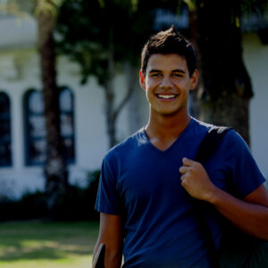 College student smiling on campus