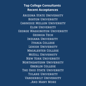 List of universities that Top College Consultants have been accepted to