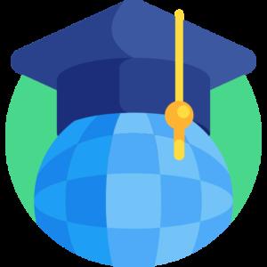 Graduation cap on globe icon