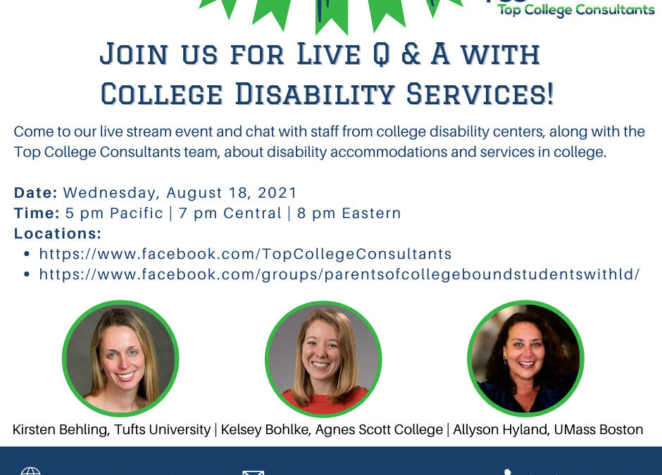 New Event: Q&A with College Disability Services